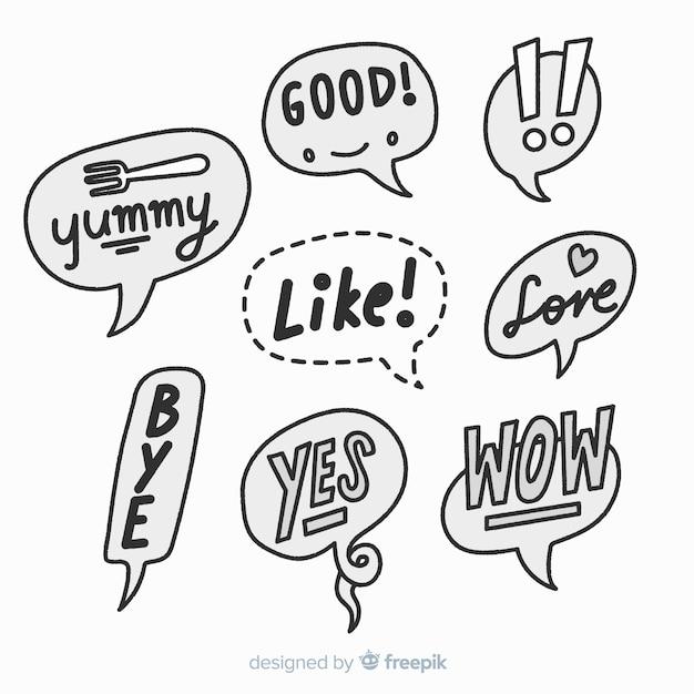 Schwarzweiss-hand gezeichnete spracheblasen Kostenlosen Vektoren