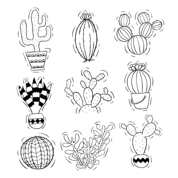 Schwarzweiss-kaktus eingestellt mit topf unter verwendung der gekritzelart Premium Vektoren