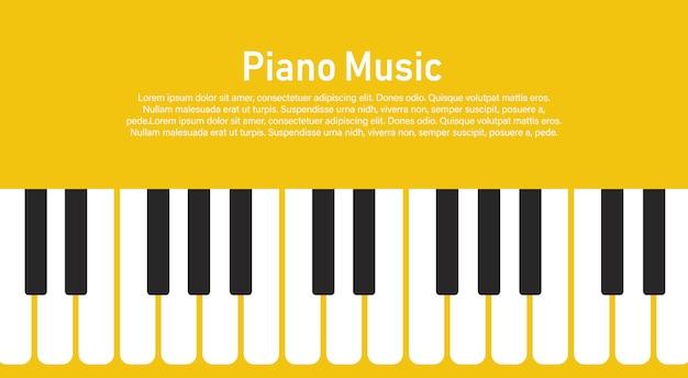 Schwarzweiss-klaviertastatur auf einem gelb. Premium Vektoren