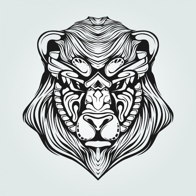 Schwarzweiss-linie kunst von bearwith dekorativem gesicht Premium Vektoren
