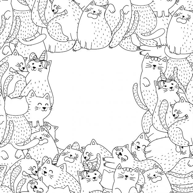 schwarzweissrahmen mit niedlichen katzen hintergrund für