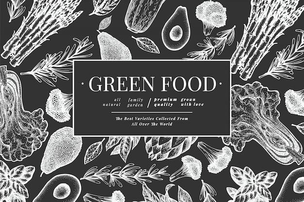 Schwarzweiss-schablone des grünen gemüses. Premium Vektoren