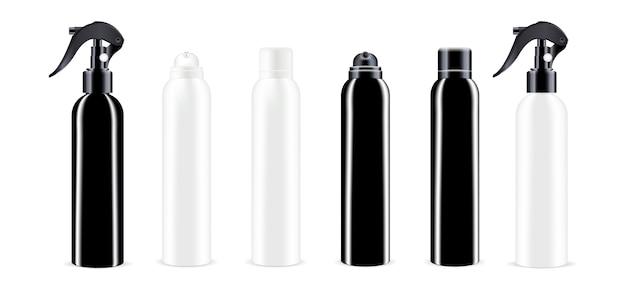Schwarzweiss-sprühflaschen-kosmetikpaket Premium Vektoren