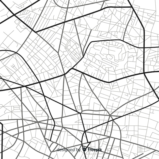Schwarzweiss-stadtnavigation auf karte Kostenlosen Vektoren