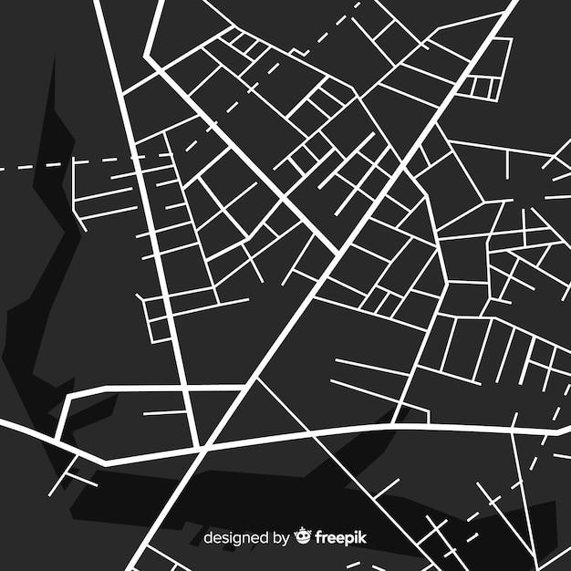 Schwarzweiss-stadtplan mit weg Kostenlosen Vektoren
