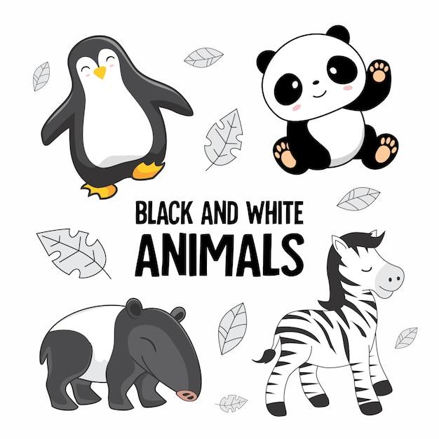 Schwarzweiss-tier-karikatursatz Premium Vektoren