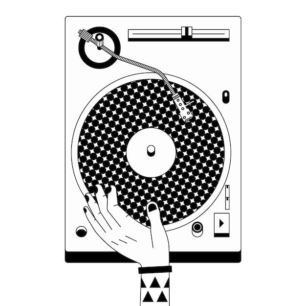 Schwarzweiss-umrissillustration des dj-mischers. musikaufnahme und skizzierhand. Premium Vektoren