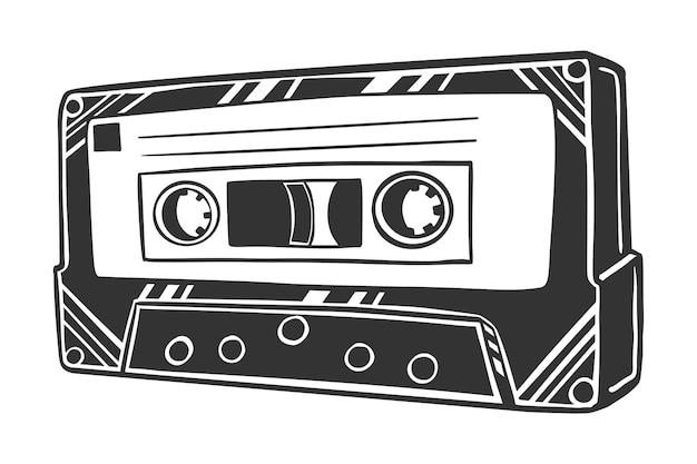 Schwarzweiss-vetorzeichnung der musikkassette, lokalisiert auf weißem hintergrund. Premium Vektoren