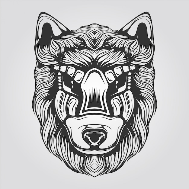 Schwarzweiss-wolflinie kunst für tatto oder malbuch Premium Vektoren