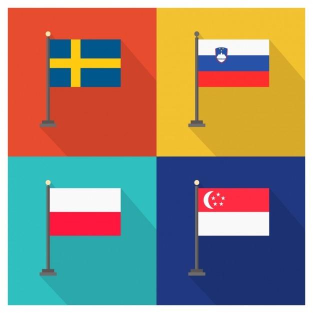 Schwede Slowenien Polen Singapur Kostenlose Vektoren