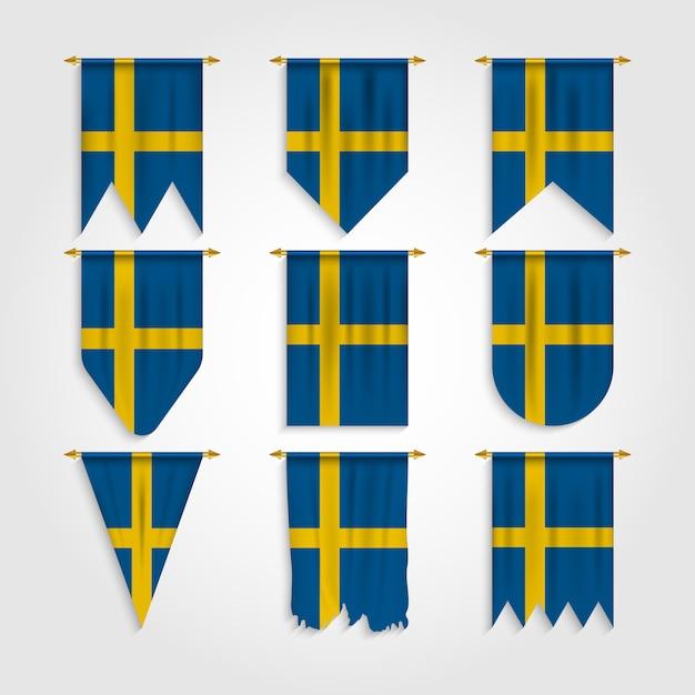 Schweden flagge in verschiedenen formen Premium Vektoren