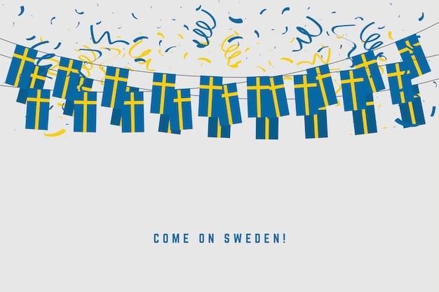 Schweden-girlanden-flagge mit konfetti auf grauem hintergrund. Premium Vektoren