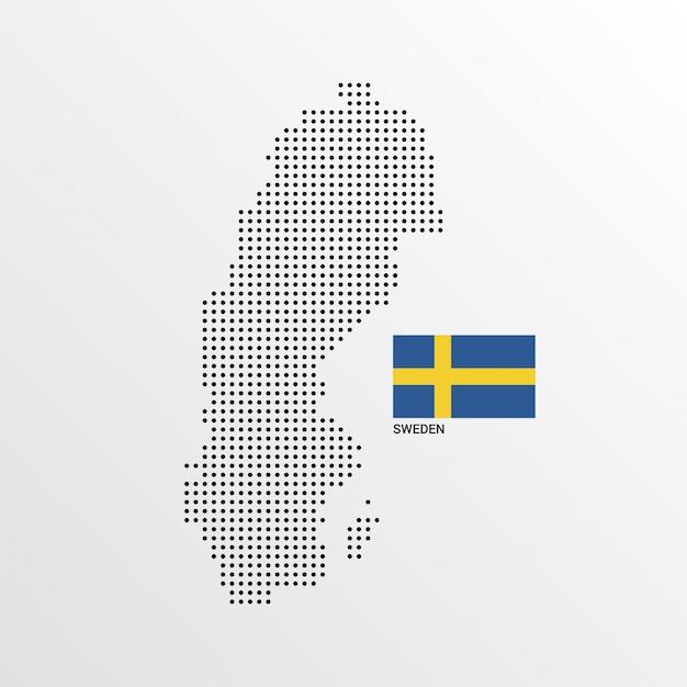 Schweden-kartenentwurf mit flaggen- und hellem hintergrundvektor Kostenlosen Vektoren