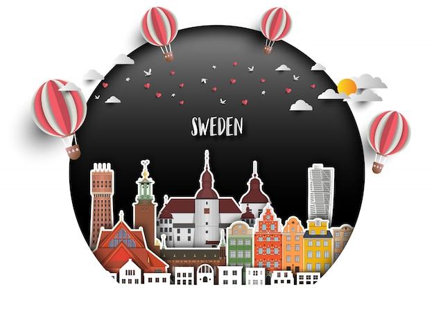 Schweden-markstein-globaler reise- und reisepapierhintergrund. Premium Vektoren