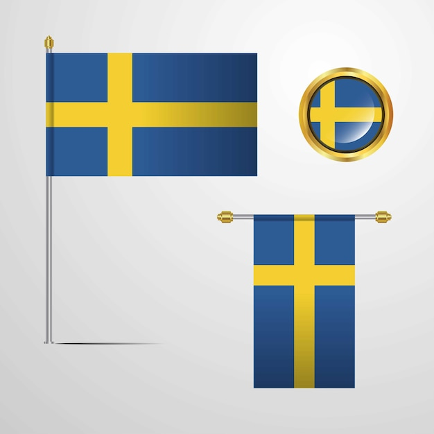 Schweden wehende flaggendesign mit ausweisvektor Premium Vektoren