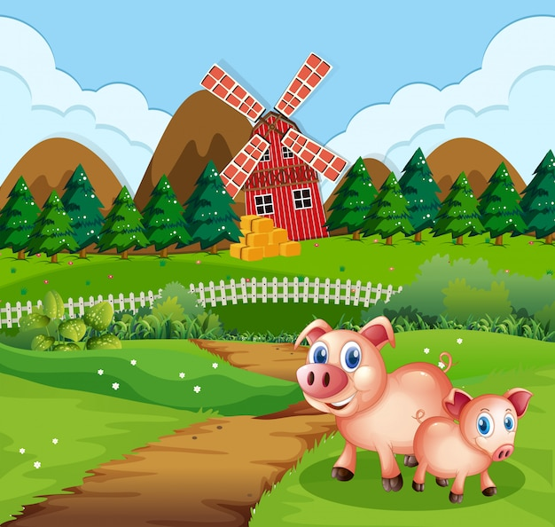 Schwein in ackerland szene Kostenlosen Vektoren