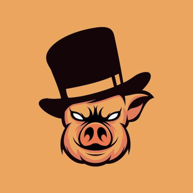 Schwein logo design Premium Vektoren