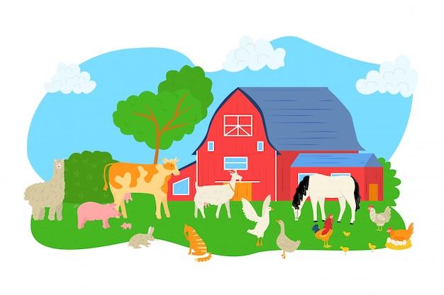 Schwein, schaf, pferd, kuh an der farmillustration. tier an der naturlandschaft, scheune für hühnerhahnhintergrund. landwirtschaftlicher ländlicher charakter bei gras, hund und ziege. Premium Vektoren