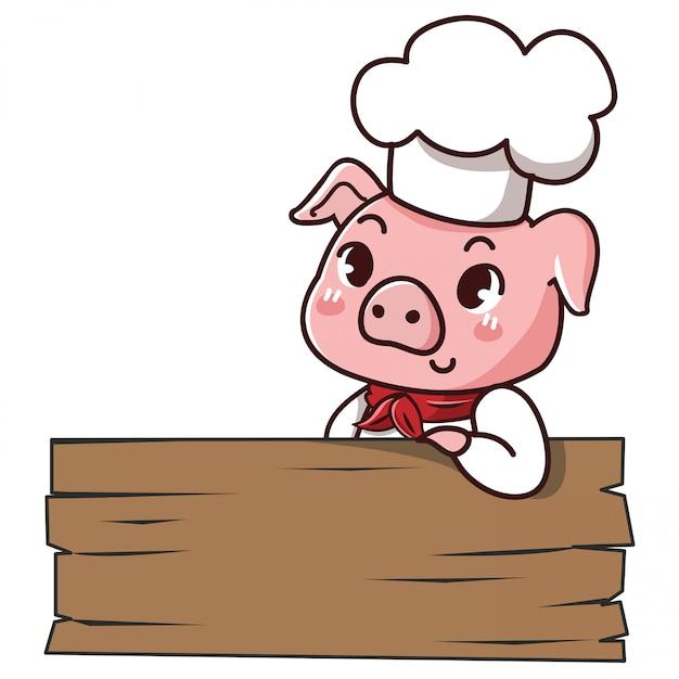 Schweinchef hält ein zeichen mit platz, um ihre mitteilung niederzulegen. Premium Vektoren