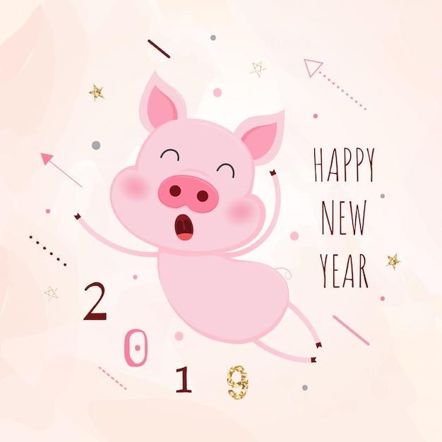 Schweinchen. chinesische neujahrs-grußkarte. das jahr des schweins Premium Vektoren