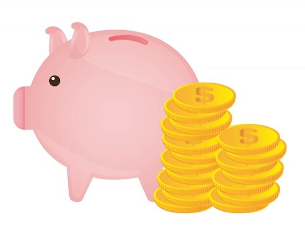 Schweinchen mit goldmünzen über weißem hintergrund vektor-illustration Premium Vektoren