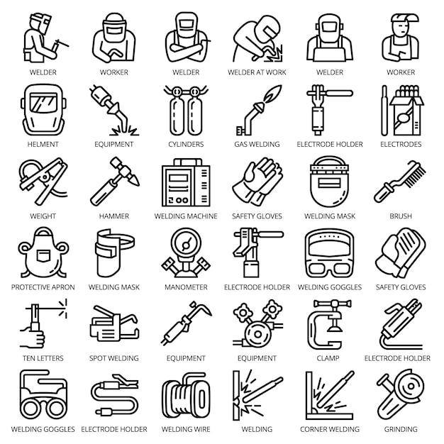 Schweißer-ausrüstungs-ikonensatz. entwurfssatz schweißerausrüstungs-vektorikonen für das webdesign lokalisiert Premium Vektoren