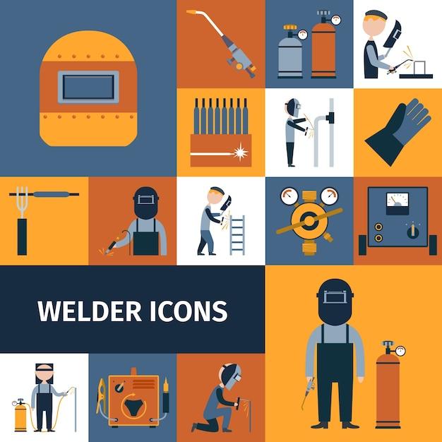 Schweißer icons set Kostenlosen Vektoren