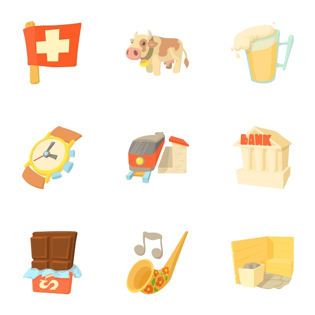 Schweiz festgelegt, cartoon-stil Premium Vektoren