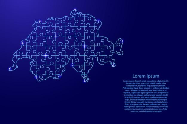 Schweiz karte aus blauem muster aus zusammengesetzten rätseln und leuchtenden weltraumsternen. Premium Vektoren