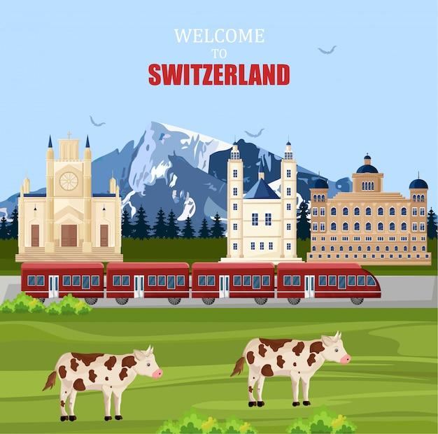 Schweiz landschaft hintergrund Premium Vektoren