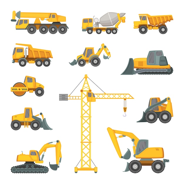 Schwere baumaschinen. bagger, bulldozer und andere technik. Premium Vektoren