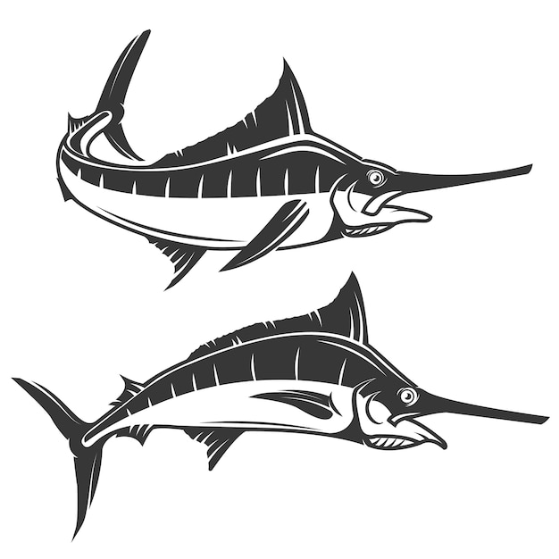 Schwertfisch hand zeichnen Premium Vektoren