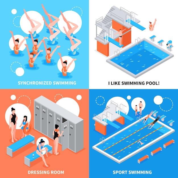 Schwimmbad-design-konzept Kostenlosen Vektoren