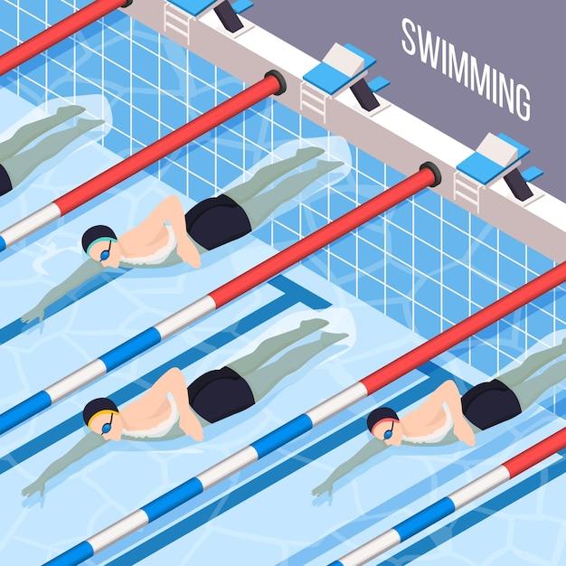 Schwimmbad für leute, die an sportvektorillustration interessiert sind Kostenlosen Vektoren