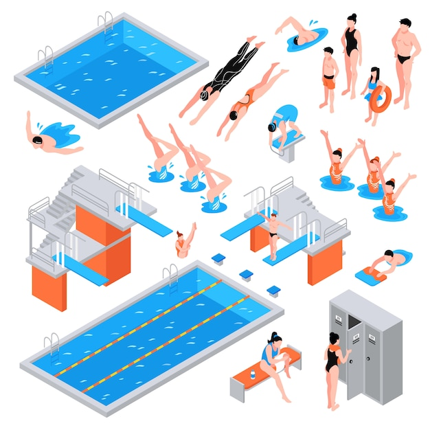 Schwimmbad isometrische elemente Kostenlosen Vektoren