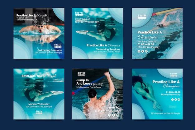 Schwimmen instagram beiträge Premium Vektoren