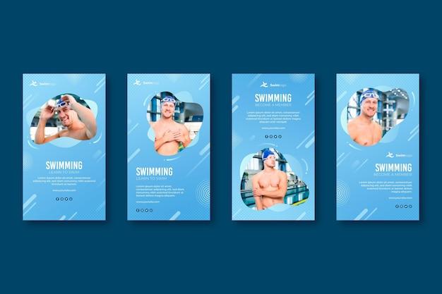 Schwimmen instagram geschichten vorlage Kostenlosen Vektoren