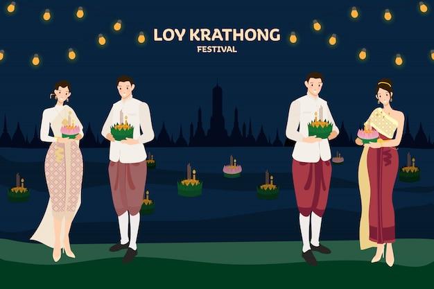 Schwimmende blumen des thailändischen paartraditionskostüms loy kratong thailand-festivalvollsupermondnacht und tempelszenenfeier Premium Vektoren