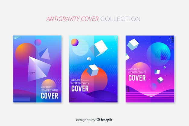 Schwimmende broschüre pack mit geometrischen formen 3d Kostenlosen Vektoren