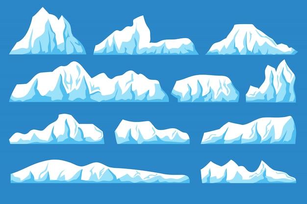 Schwimmender eisberg-vektorsatz der karikatur. ozeaneis schaukelt landschaft für klima- und umweltschutzkonzept Premium Vektoren