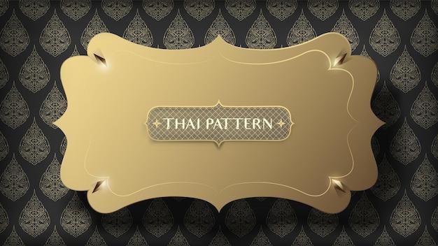 Schwimmender schwarzer rahmen auf abstraktem traditionellem thailändischem musterhintergrund Premium Vektoren