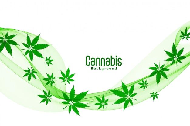 Schwimmendes grünes cannabis-marihuana hinterlässt hintergrunddesign Kostenlosen Vektoren