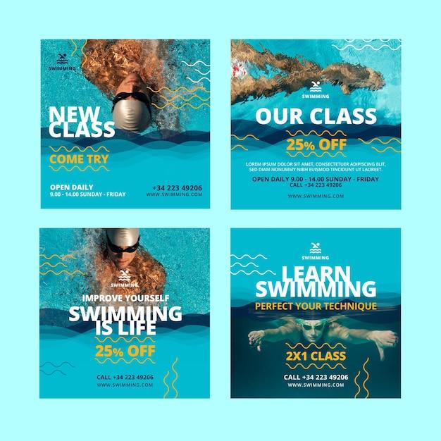Schwimmklassen instagram post vorlage Kostenlosen Vektoren
