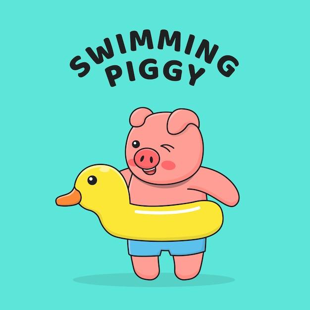 Schwimmschwein mit entenschwimmer Premium Vektoren