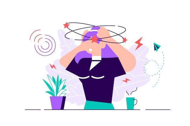 Schwindel vektor-illustration. flaches winziges schwindelerregendes kopfgefühl-personenkonzept. verwirrungsbewegung Premium Vektoren