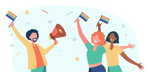 Schwule feiern stolz. glücklicher mann und frau, die regenbogenfahnen und lautsprecher halten. karikaturillustration Kostenlosen Vektoren