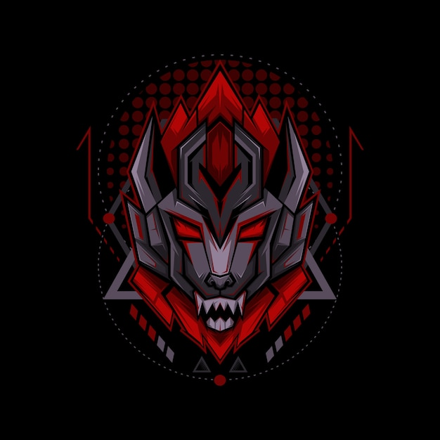 Sci-fi wolf geometrie-stil Premium Vektoren