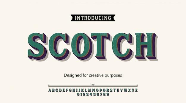 Scotch-schrift. für etiketten und verschiedene schriftarten Premium Vektoren