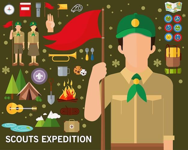 Scouts expedition konzept hintergrund. flache symbole. Premium Vektoren
