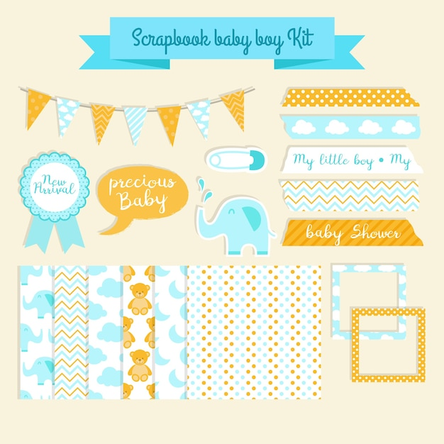Scrapbook baby-dusche-kit Kostenlosen Vektoren